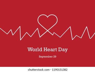World Heart Day illustration. Illustration heartbeat. White heart on a red background. Important day