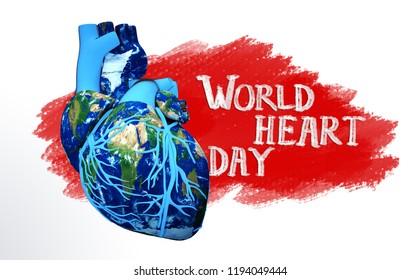 world heart day illustration red stamp design on the hand write font 3d illustration