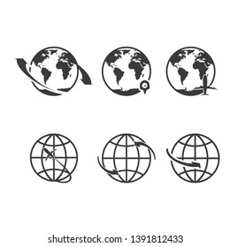 World icons set. Earth globe map for internet or commerce tourism