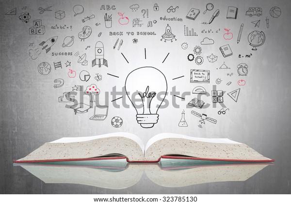 Día mundial de la propiedad intelectual y concepto de educación con bombilla de luz innovadora en el libro con doodle