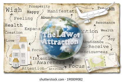 World of Law of Attraction on Old Paper