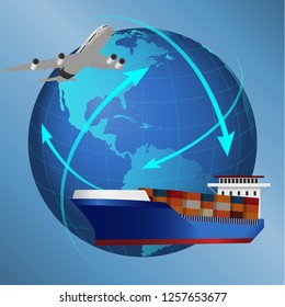 world logistics by air and ship cargo