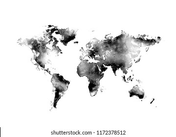 World map 3d engraving isolated on white background