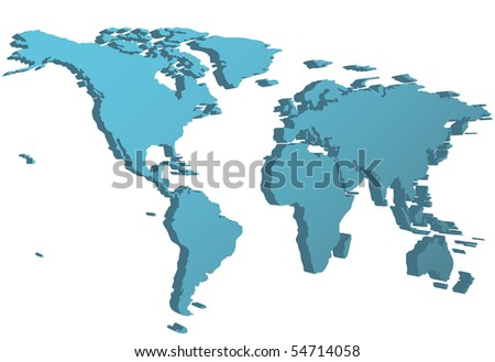 World Map 3d View.World Map 3 D Perspective Side View Stock Illustration 54714058
