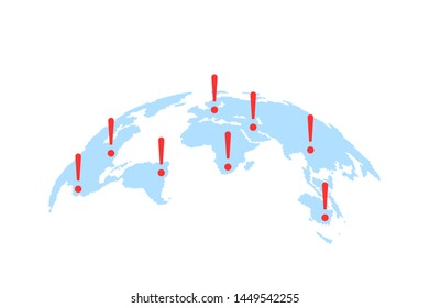 world map with abstract epicenters of cyber attacks or disasters. concept of warning sign of international terrorism. simple flat style trend modern logo graphic design isolated on white background