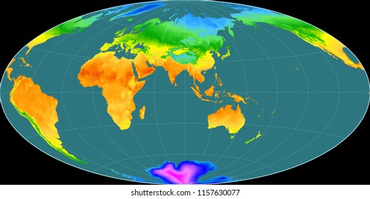 Temperature map images stock photos vectors shutterstock world map in the aitoff projection centered on 90 east longitude mean annual temperature map freerunsca Images