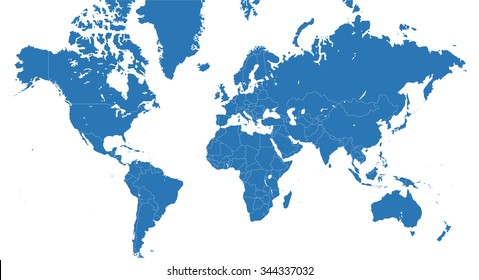 World map with all continents and nations - blue vector planisphere