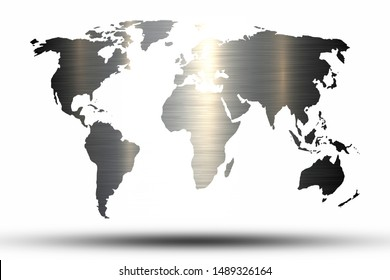 World map with aluminum texture background