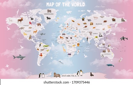 World map animals for child room wallpaper