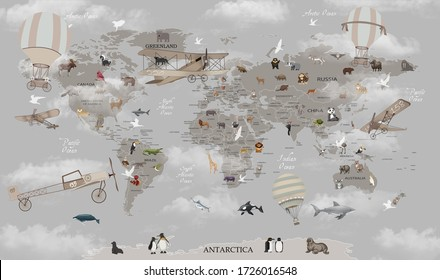 world map animals for kids room wallpaper design