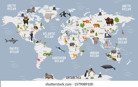 World Map Animals poster for children