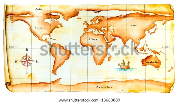 World map, antique style. Original hand painted illustration. Clipping path included.