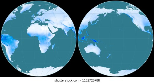 World map in the Apian projection centered on 11 East longitude. Mean annual precipitation map - raw composite of raster with graticule