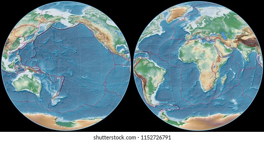 World map in the Apian projection centered on 170 West longitude. Colored shader, elevation map - composite of raster with graticule and tectonic plates borders