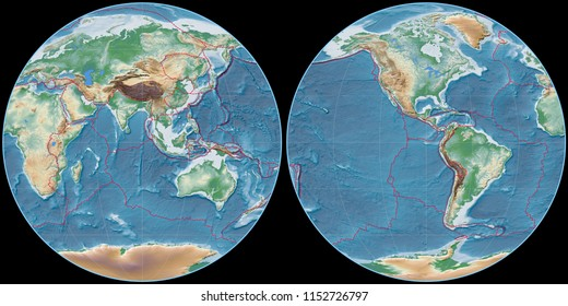 World map in the Apian projection centered on 90 East longitude. Colored shader, elevation map - composite of raster with graticule and tectonic plates borders