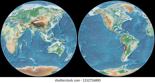 World map in the Apian projection centered on 90 East longitude. Colored shader, elevation map - raw composite of raster with graticule