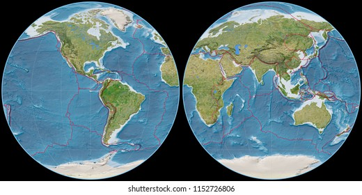 World map in the Apian projection centered on 90 West longitude. Satellite imagery B - composite of raster with graticule and tectonic plates borders