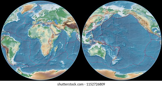 World map in the Apian projection centered on 11 East longitude. Colored shader, elevation map - composite of raster with graticule and tectonic plates borders