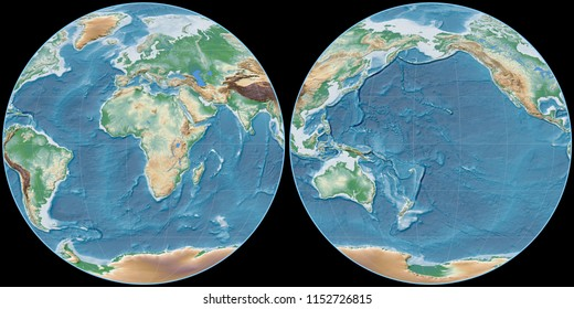 World map in the Apian projection centered on 11 East longitude. Colored shader, elevation map - raw composite of raster with graticule