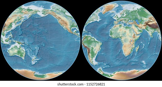 World map in the Apian projection centered on 170 West longitude. Colored shader, elevation map - raw composite of raster with graticule