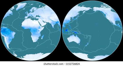 World map in the Apian projection centered on 11 East longitude. Mean annual precipitation map - composite of raster with graticule and tectonic plates borders