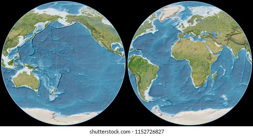 World map in the Apian projection centered on 170 West longitude. Satellite imagery B - raw composite of raster with graticule