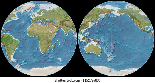 World map in the Apian projection centered on 11 East longitude. Satellite imagery B - composite of raster with graticule and tectonic plates borders