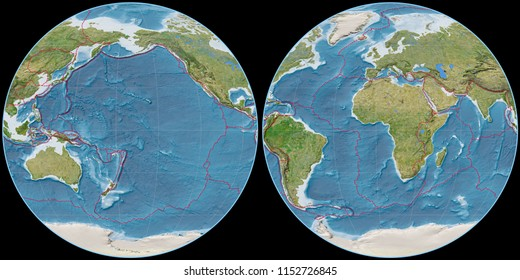 World map in the Apian projection centered on 170 West longitude. Satellite imagery B - composite of raster with graticule and tectonic plates borders