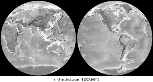 World map in the Apian projection centered on 90 East longitude. Grayscale elevation map - raw composite of raster with graticule