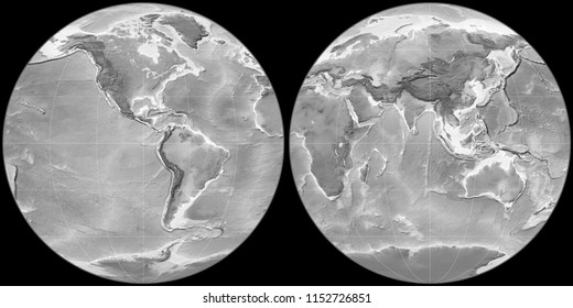 World map in the Apian projection centered on 90 West longitude. Grayscale elevation map - raw composite of raster with graticule