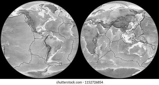 World map in the Apian projection centered on 90 West longitude. Grayscale elevation map - composite of raster with graticule and tectonic plates borders