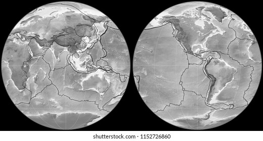 World map in the Apian projection centered on 90 East longitude. Grayscale elevation map - composite of raster with graticule and tectonic plates borders