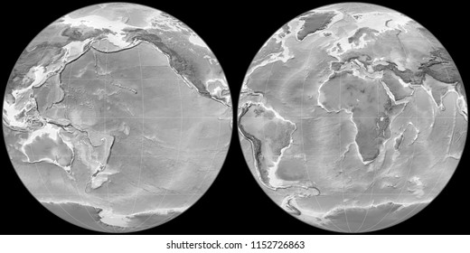 World map in the Apian projection centered on 170 West longitude. Grayscale elevation map - raw composite of raster with graticule