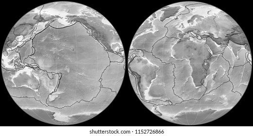 World map in the Apian projection centered on 170 West longitude. Grayscale elevation map - composite of raster with graticule and tectonic plates borders