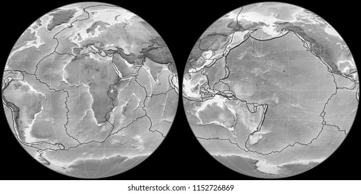World map in the Apian projection centered on 11 East longitude. Grayscale elevation map - composite of raster with graticule and tectonic plates borders