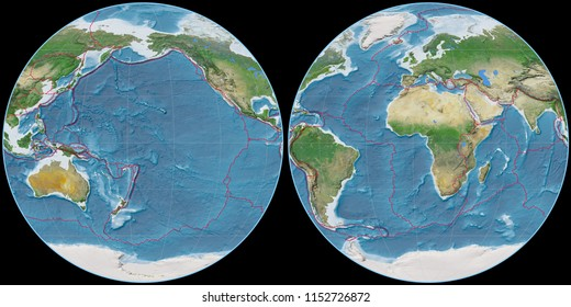 World map in the Apian projection centered on 170 West longitude. Satellite imagery A - composite of raster with graticule and tectonic plates borders