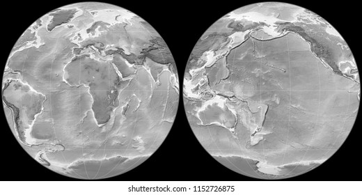 World map in the Apian projection centered on 11 East longitude. Grayscale elevation map - raw composite of raster with graticule