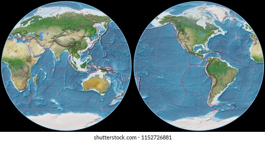 World map in the Apian projection centered on 90 East longitude. Satellite imagery A - composite of raster with graticule and tectonic plates borders
