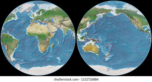 World map in the Apian projection centered on 11 East longitude. Satellite imagery A - composite of raster with graticule and tectonic plates borders