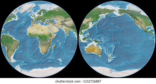 World map in the Apian projection centered on 11 East longitude. Satellite imagery A - raw composite of raster with graticule