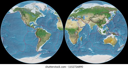 World map in the Apian projection centered on 90 West longitude. Satellite imagery A - composite of raster with graticule and tectonic plates borders