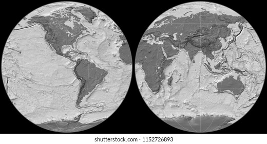 World map in the Apian projection centered on 90 West longitude. Bilevel topographic map - raw composite of raster with graticule