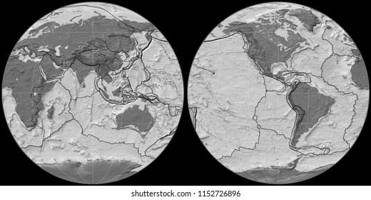 World map in the Apian projection centered on 90 East longitude. Bilevel topographic map - composite of raster with graticule and tectonic plates borders