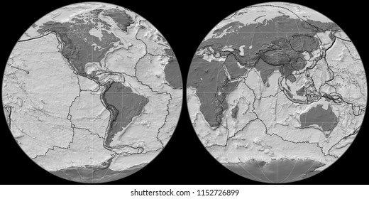 World map in the Apian projection centered on 90 West longitude. Bilevel topographic map - composite of raster with graticule and tectonic plates borders