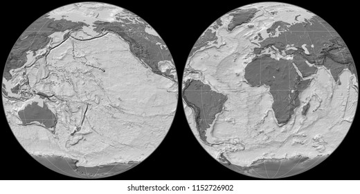 World map in the Apian projection centered on 170 West longitude. Bilevel topographic map - raw composite of raster with graticule