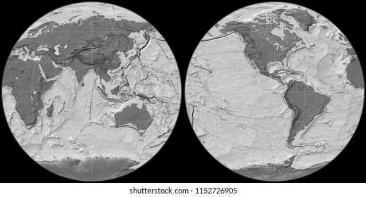 World map in the Apian projection centered on 90 East longitude. Bilevel topographic map - raw composite of raster with graticule