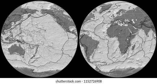 World map in the Apian projection centered on 170 West longitude. Bilevel topographic map - composite of raster with graticule and tectonic plates borders