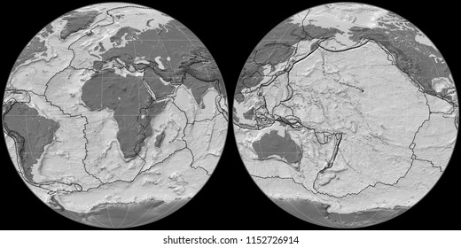 World map in the Apian projection centered on 11 East longitude. Bilevel topographic map - composite of raster with graticule and tectonic plates borders