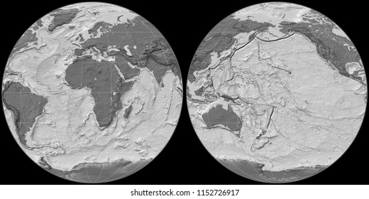 World map in the Apian projection centered on 11 East longitude. Bilevel topographic map - raw composite of raster with graticule