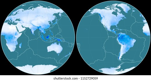 World map in the Apian projection centered on 90 East longitude. Mean annual precipitation map - composite of raster with graticule and tectonic plates borders
